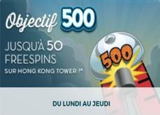 Objectif 500 de Monsieur Vegas - Gagnez des free spins en misant sur les bonnes machines à sous
