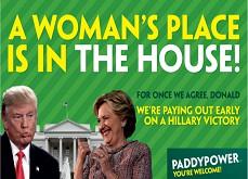 Des semaines avant les élections américaines, Paddy Power paie les paris sur Hillary Clinton Présidente