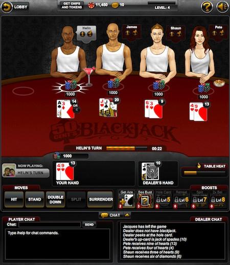 Le jeu 50 cent Blackjack sur Facebook par GSN