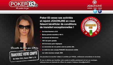 Fermeture de Poker83.fr qui rejoint JOA